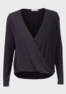 CHARCOAL GREY WRAP POPPER FRONT BLOUSE TOP SIZES 6-16